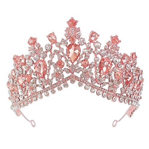 Beaupretty Copricapo da Sposa in Oro Rosa con Strass Corona per Capelli Lucidi per Ornamento da Sposa da Ragazza