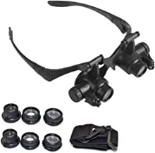 liumiKK Bracket Headband Magnifying Glass with 2 LED Lights and 6 Interchangeable Lens 10X 15X 20X 25X