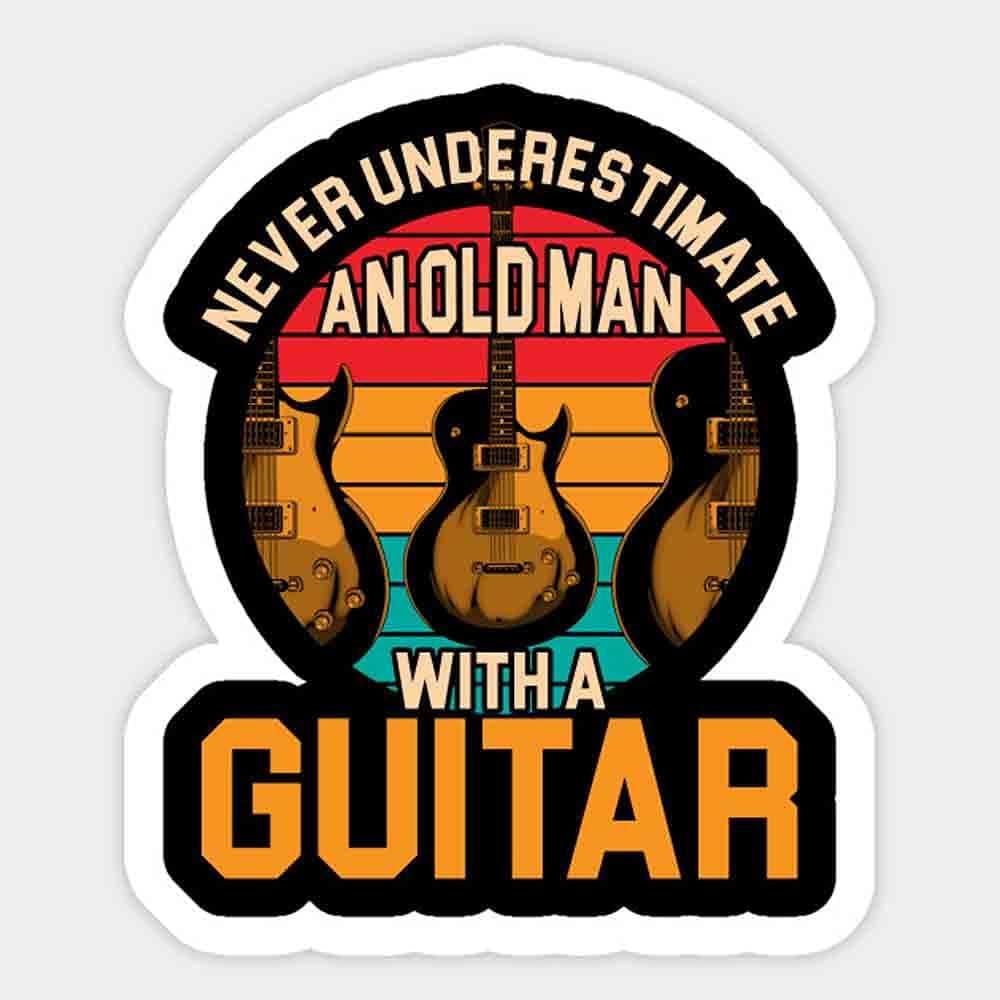 Electric Guitar Old Man Guitarist Mail order cheap Manufacturer OFFicial shop Laptop Sticker - Funny