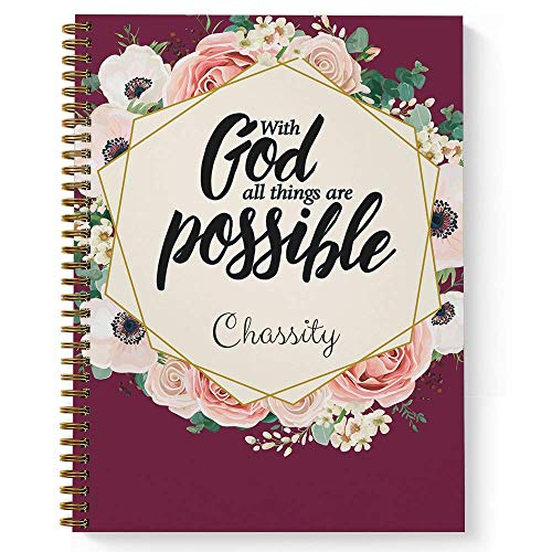 """All Things Are Possible Personalized Religious Notebook/Journal, Laminated Soft Cover, 120 pages of your selected paper, lay flat wire-o spiral. Size: 8.5"""" x 11"""". Made in the USA"""