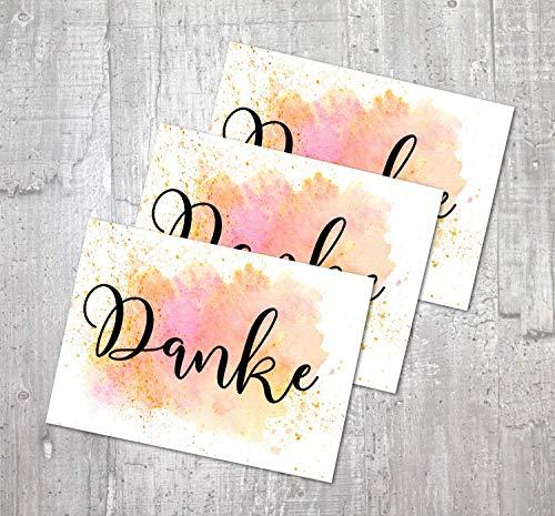 Karte Danke | 3 Karten Set | Danke Geschenk | Dankeskarte Hochzeit | Danke Postkarte | Danksagung Hochzeit
