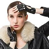 Nappaglo Damen klassisch Halbfinger Lederhandschuhe für fahren Fingerlose Lammfell Fitness Outdoor ungefüttert Handschuhe (S (Umfang der Handfläche:16.5-17.8cm), Schwarz)