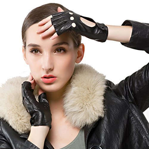 Nappaglo Damen klassisch Halbfinger Lederhandschuhe für fahren Fingerlose Lammfell Fitness Outdoor ungefüttert Handschuhe (M (Umfang der Handfläche:17.8-19.0cm), Schwarz)