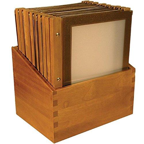 Boite protège-menus cadre en bois 20 porte-menus Securit marron -Format A4