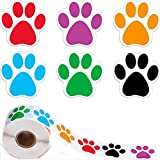 YUEMING Un Rollo de 500 Piezas Etiqueta de Juguete Pegatinas de Pata Coloridas Etiquetas de Pata de Perro Etiqueta autoadhesiva Pegatina Animal