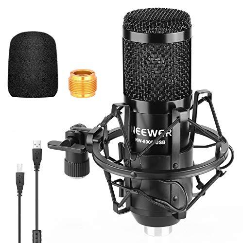Neewer USB Micrófono Kit 192KHZ / 24BIT Plug & Play Ordenador Cardioide Micrófono Podcast Micrófono Condensador con Chip Sonido Profesional para PC Karaoke YouTube Grabación Juegos Soporte(Negro)