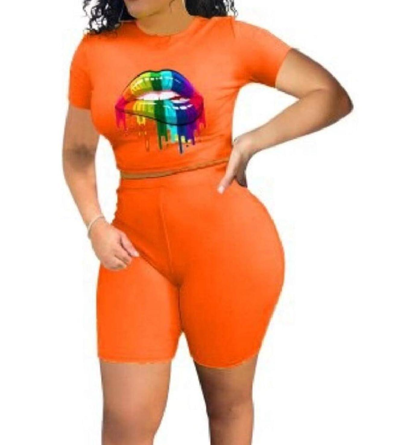 柱土器柱GodeyesW 女性カクテルトップス+ショーツスポーツ衣装花プリントロンパース