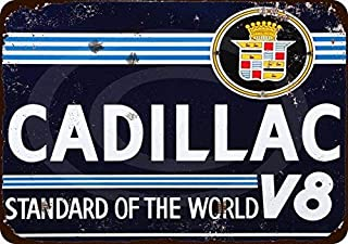 Owesoe Cadillac V8 Standard of The World Tin Sign Decor Metal Wall Art 8x12 Sign