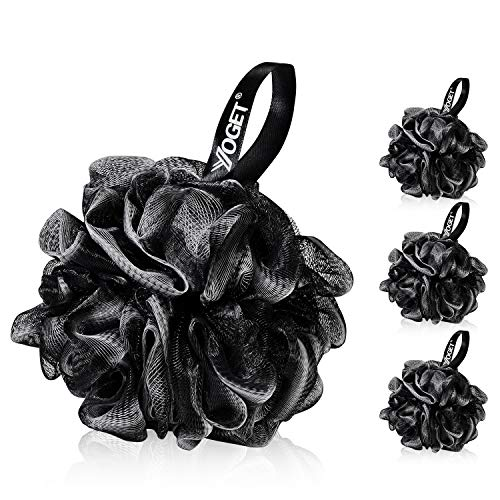 Yoget Charcoal Bath Loofah Sponge 4 Pack Black 60G Large Shower Mesh Ball Soft Pouf Body Scrubber Exfoliate Cleanse Soothe Skin