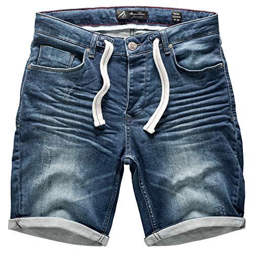 Amaci&Sons Herren Jeans Shorts Kordel Destroyed Kurze Hose Sommer Bermuda Verwaschen J5001 D-Blau W36