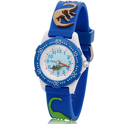 ARIALK キッズ 腕時計 子供 用 恐竜 ウォッチ ボーイズ 男の子 男子 小学生 アナログ 卒園 入学祝い (ブルー)