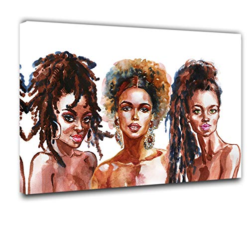 African American Paintings Watercolor Beauty Women HD Prints on Canvas Colorful Pictures 1 Piece Canvas Wall Art Home Decor for Living Room Framed Gallery-wrapped Stretched Ready to Hang(16''X24'')
