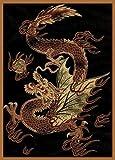United Weavers Legends Area Rug 910-03230 Dragon Luck Dragon Asian 5' 3' x 7' 2', Rectangle, Black