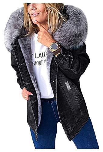 SKYWPOJU Damen Winter Jeansjacke Gefütterte Denim Jacket Jeans Jacke Mit Fell Mantel Warme Beiläuf Winterjacke Mit Kapuze Revers Oberbekleidung (Color : Black, Size : XXL)