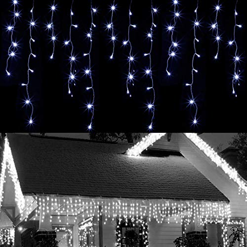 WATERGLIDE 360 LED Christmas Iciclelights Outdoor Dripping Ice Cycle String Light, 29.5ft 8 Modes Curtain Fairy Lights with 60 Drops, Indoor Xmas Holiday Wedding Party Decorations, Cool White