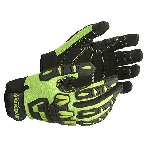 SAFEGEAR Impact-Reducing Mechanics Gloves Large, 1 Pair - EN388 & ANSI Level A1 Cut-Resistant Black & Lime Green Work Gloves for Men and Women - Breathable, Touchscreen Capable - J. J. Keller