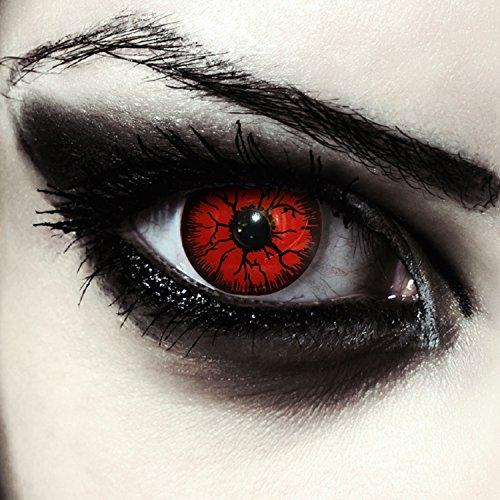 Rote farbige Monster Kontaktlinsen für Halloween Farblinsen in rot Model: : Red Monster + gratis Kontaktlinsenbehälter (innerhalb Dt.)
