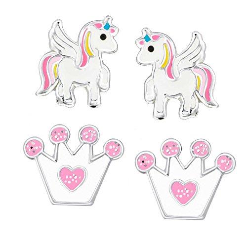 FIVE-D - 2 paia di orecchini per bambini a forma di unicorno e corona glitterata, in argento Sterling 925, con custodia e Argento, colore: Bunt-weiss, cod. set122
