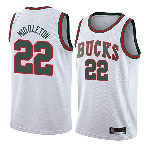 Wo nice Jerseys De Baloncesto para Hombre, Milwaukee Bucks # 22 Khris Middleton NBA Verano Uniformes Deportes Camisetas Casual Cómodo Chaleco Tops,Blanco,S(165~170CM)