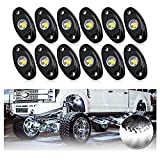 OPP ULITE White Led Rock Lights Kit with 12 Pods Light for Offroad Truck Car ATV SUV Boat Motorcycle Vehicle Under Body Glow Light Lamp Trail Fender Lighting (12pods Rock W)