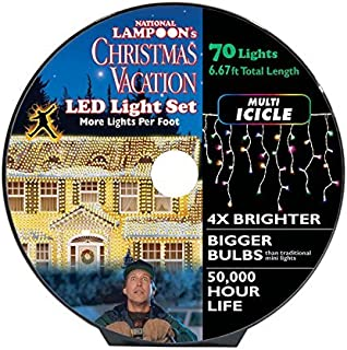 String Light, National Lampoon's Christmas Vacation Griswold 70 LED Icicle Light Set 6 feet. Multicolored.