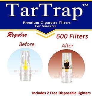 TarTrap Disposable Cigarette Filters - Bulk Economy Pack (600 Per Pack) + 2 Free Lighters