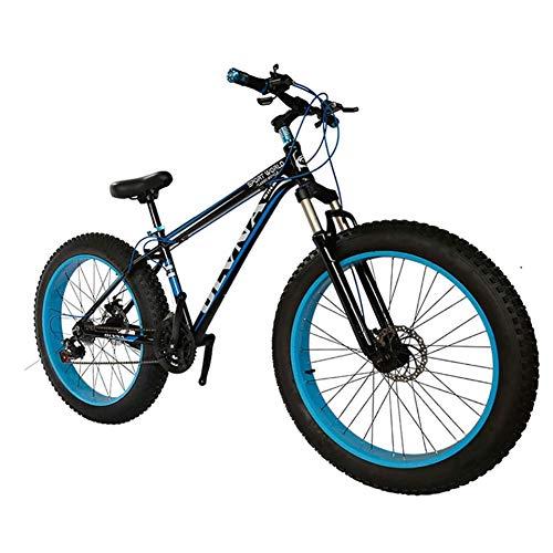 26 Inch Fat Tire Bicycle, Snow Bike, Fashion Mtb Bike 21 Speed Full Suspension Steel Double Disc Brake Mountain Bike Mountain Bicycle Outdoor Riding