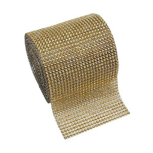 BESTOMZ Diamant Band Strassband Dekoband für Torte Party Hochzeit Dekoration (Gold)