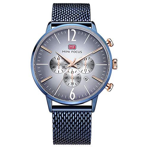 QZPM Hombre De Ultrafino Acero Inoxidable Malla Reloj Moda Simple Multifunción Impermeable Calendario Cuarzo Analógico Negocios Relojes,Azul