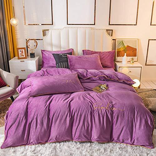 Bedding 4 Piece Set,2020 Embroidered Thick Crystal Velvet Four-Piece Winter Flannel Warm Quilt Cover Sheet Coral Velvet Bedding-Violet_Queen