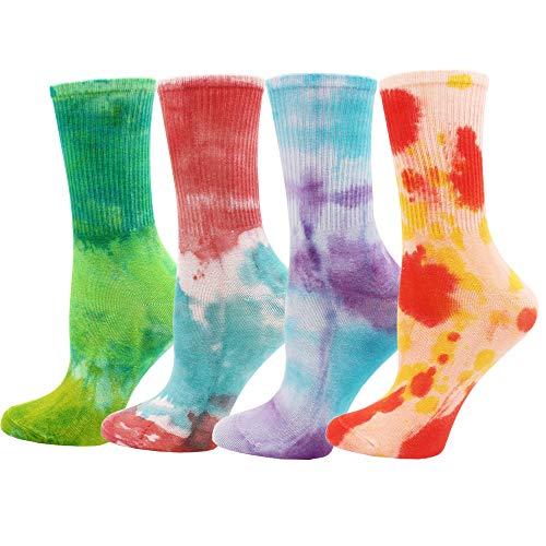 Batik-Socken (4er-Pack), bunte Damen-Socken, kuschelige Batik-Baumwolle, weiche Crew-Socken