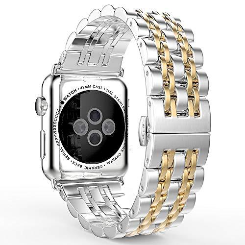 BUY-TO Correa de Reloj para la Serie de Relojes de Apple Correa de Repuesto de Metal Mariposa Hebilla para iwatch Series 1/2/3/4
