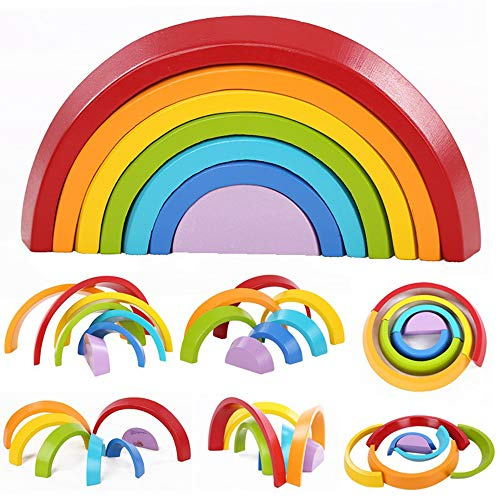 Montessori Wooden Rainbow Toy Colored Arch Bridge Blocks Set...