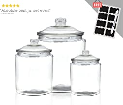 Anchor Hocking Heritage Hill Glass Jar Set with Lids | Clear Storage Container Canisters for Cookie, Candy, Dry Food or Pasty | 2, 1 and Half Gallon Collection