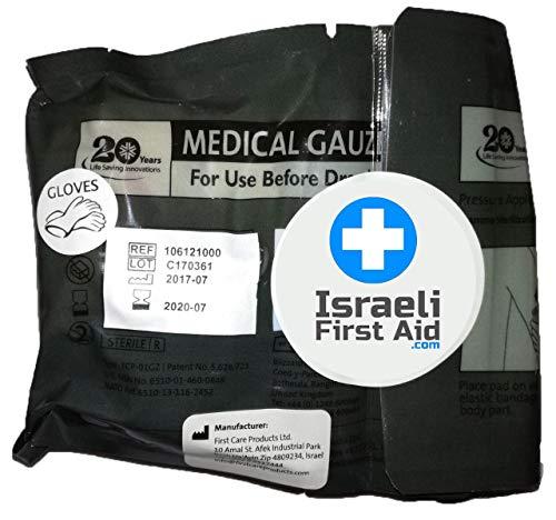 Set aus Notfall-Bandage mit Druckstange, medizinische Mullbinden und Handschuhen, 10,2 cm