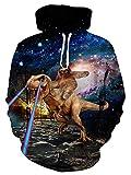 ALISISTER Felpa con Cappuccio 3D Realistica Galassia Dinosauro Bradipo Stampe Hoodie Felpe Manica Lunga Autunno Inverno Hooded Pullover Sweatshirt con Tasche con Coulisse XL