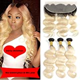 Ombre 1b 613 Blonde Hair Bundles with Lace Forntal...