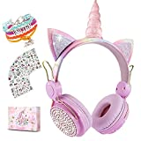 Unicorn Wireless Headphones for Kids,Cat Ear Bluetooth 5.0 Over Ear Headphones with Microphone for Cellphone/iPad/Laptop/PC/TV/PS4/Xbox One, Foldable Gaming Headset for Girls Teens Gift (Pink)
