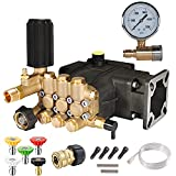 YAMATIC 3300 PSI 3.0 GPM Triplex Pump 3/4'' Shaft with 5 Spray Nozzle Tips and Pressure Washer Gauge