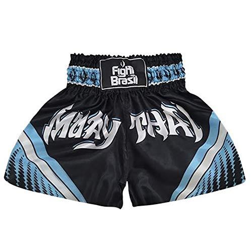 Short Calção Muay Thai - Athrox - Pre/Azul - GG