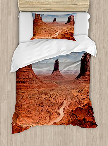 Ambesonne Western Duvet Cover Set Twin Size, American Desert Arizona Canyon Monuments Valley National Park Wild West Theme, Decorative 2 Piece Bedding Set with 1 Pillow Sham, Cinnamon Blue
