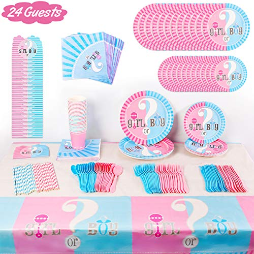 Gender Reveal Party Supplies Decorations - For 24 Guest Baby Gender Reveal With Flatware, Spoons, Plates, Cups, Straws, Napkins, Invitation Card, Tablecloth, Favor Pack Set for Boy or Girl