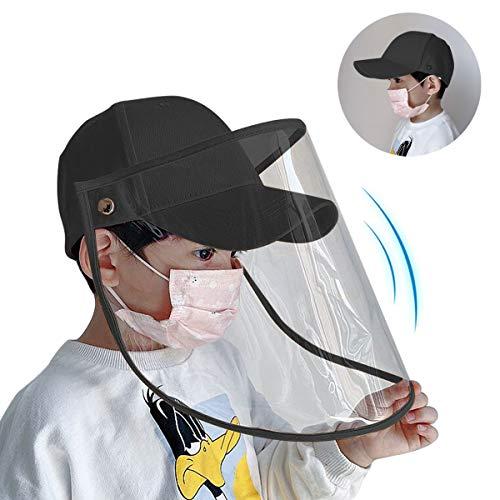 Gesichtsschutz Visiere Hut - Staubmaske Visiere Abnehmbar Baseballmütze Wasserdicht Anti-Spitting Masken Protective Hat Staubdichtes Schutzkappe Augenschutz Schutzmaske (Schwarz A)