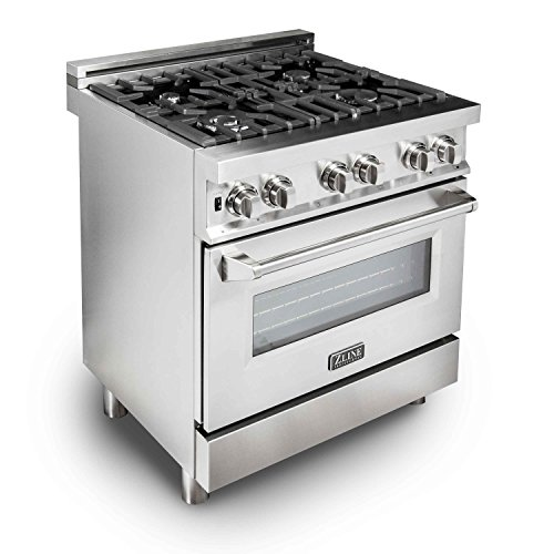 ZLINE 30' 4.0 cu. ft. Dual Fuel Range with Gas Stove and Electric Oven in Stainless Steel (RA30)