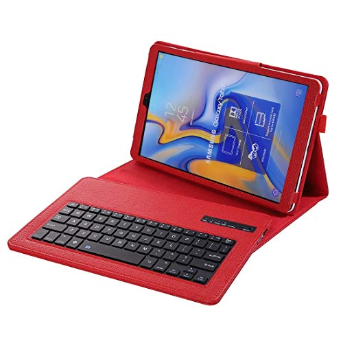 for Tablet Bluetooth Keyboard Gq SA590 Bluetooth 3.0 Litchi Texture Detachable Bluetooth Keyboard Leather Case for Samsung Galaxy Tab A 10.5 inch T590 / T595, with Holder (Black) (Color : Red)