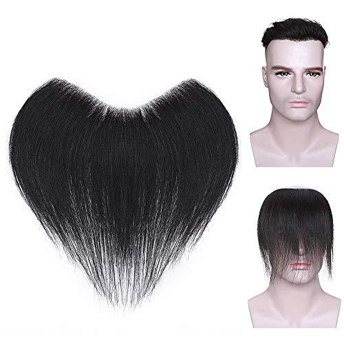 Elailite Protesis Capilars Hombre Indetectable Pelo Natural Remy #1B Negro Natural 20g - PU Base 4cm*18cm Densidad: 120% Liso Cabello Pelucas Humano Remy Human Hair