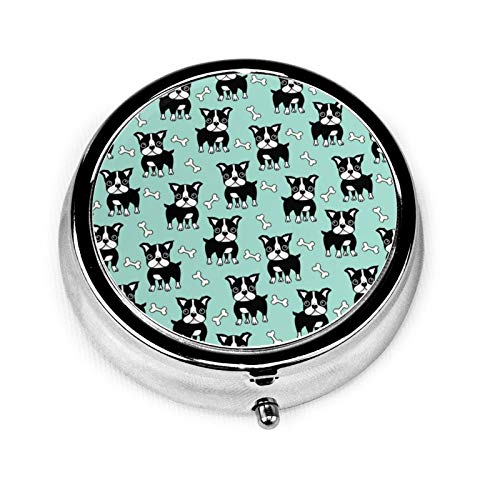 Boston Terrier Black On Mint Round Pill Container 3 Compartment Metal Medicine Case Vitamin Organizer Holder Decorative Box for Travel Outdoors