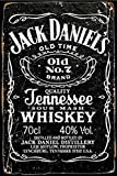 Cartel de chapa de metal vintage - Jack Daniels etiqueta II - Cartel de pintura de hierro retro Placa de decoración de pared para Bar Cafe Garden Home 8 × 12 pulgadas