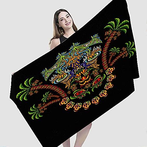 "Art Beach Towel,Trance Demon Dj Illustration Art Aztec Heart Mask Palm Acid Azure,Microfiber Super Absorbent Beach Blanket for Travel Beach Camping Swimming Outdoor Towel Mat,31""x63"""