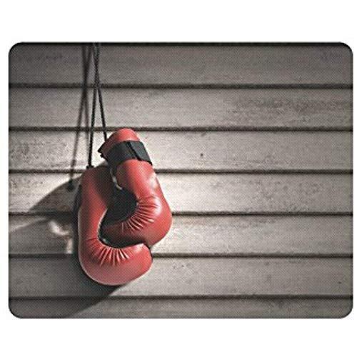 Rote realistische Boxhandschuhe auf hölzernen Wand-Laptop Mousepad Mausunterlagen/Mäusematten